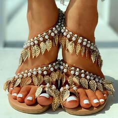 De mujer PU Tacón plano Sandalias Encaje con Perlas de imitación zapatos