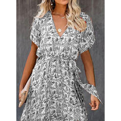 Print/Floral Short Sleeves A-line Wrap/Skater Casual/Vacation Maxi Dresses