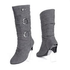 De mujer Cuero Tacón chupete Cerrados Botas Botas a la rodilla Botas longitud media Botas de nieve con Rivet Hebilla zapatos