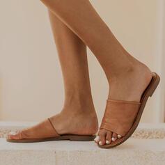Dla kobiet PU Płaski Obcas Sandały Otwarty Nosek Buta Kapcie Z Tkanina Wypalana obuwie