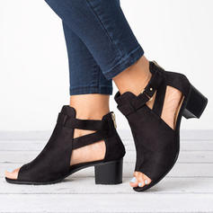 Women's Suede Chunky Heel Sandals With Buckle shoes