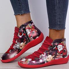 De mujer PU Tacón plano Botas al tobillo Encaje con Cordones Flor Color de empalme zapatos