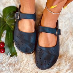 De mujer PU Tacón plano Planos Punta cuadrada con Hebilla Agujereado zapatos