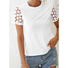 Hollow-out Solid Round Neck Short Sleeves T-shirts