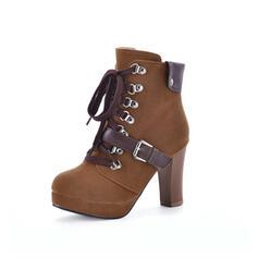 Vrouwen Suede Stiletto Heel Enkel Laarzen Ronde neus met Vastrijgen schoenen