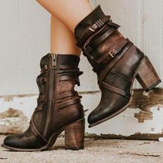 De mujer PU Tacón ancho Salón Cerrados Botas Botas longitud media con Hebilla Cremallera zapatos
