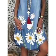 Nadrukowana/Kwiatowy Krótkie rękawy Koktajlowa Nad kolana Casual/Dżinsowa Sukienki