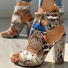 De mujer PU Tacón ancho Sandalias Encaje con Hebilla Estampado de animales zapatos