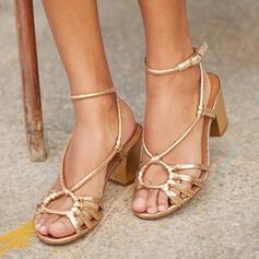 De mujer PU Tacón ancho Sandalias Salón Encaje Solo correa Tacones zapatos