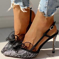 De mujer Tela Malla Tacón stilettos Salón con Hebilla Encaje zapatos
