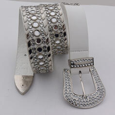 Elegant Artistic Dainty Square & Round Buckle Leather With Rhinestones Breathable Minimalist Women's Belts