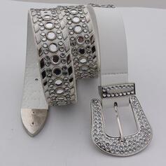 Elegante Artístico Delicado Hebilla cuadrada y redonda cuero con Diamantes de imitación Respirable Minimalista De mujer Cinturones