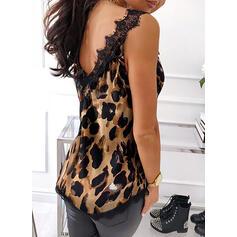Encaje Leopardo Cuello en V Sin mangas Casual Camisetas sin mangas