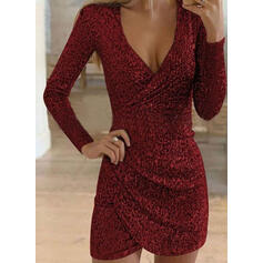 Sequins Long Sleeves Bodycon Above Knee Little Black/Party Dresses