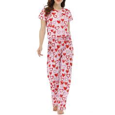 Cuello Redondo Manga Corta Impresión Casual Conjuntos de top y pantalones