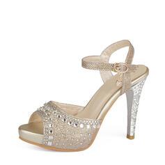 De mujer Cuero Tacón stilettos Sandalias con Brillo Chispeante Hebilla zapatos