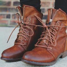 De mujer PU Tacón bajo Botas Martin botas con Cremallera Cordones Color sólido zapatos
