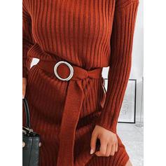 Düz / Tek (Renk) Fitilli Kulatý krk Neformální Svetrové šaty