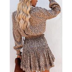 leopard Dlouhé rukávy Áčkové Nad kolena Neformální Patinator Rochii