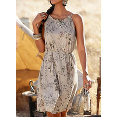 Print/Floral Sleeveless A-line Knee Length Casual/Vacation Slip/Skater Dresses