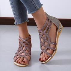 De mujer PU Tacón plano Sandalias Encaje Solo correa con Rhinestone Cremallera Agujereado zapatos