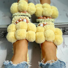 Women's Fabric Flat Heel Sandals Flats Peep Toe Slippers With Faux-Fur shoes