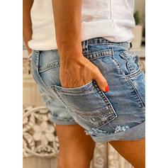 Pevný džínovina Nad kolenem Neformální Plus velikost hlubokým výstřihem Knoflík Kalhoty Šortky