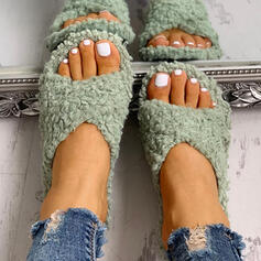 Kvinnor Tyg Flat Heel Peep Toe Tofflor med Päls Andra skor