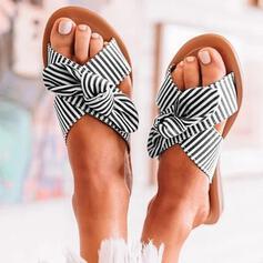 De mujer PU Tacón plano Sandalias Pantuflas con Bowknot Agujereado zapatos