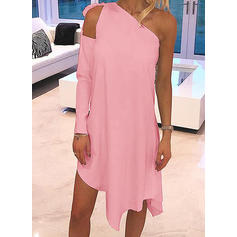Solid Long Sleeves Shift Asymmetrical Casual Tunic Dresses