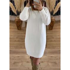 Düz / Tek (Renk) Csipke Kulatý krk Dlouhé Sexy Svetrové šaty