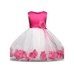 Chicas Cuello redondo Floral Patchwork Lindo Fiesta Niña de las flores Vestido