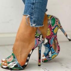 Women's PU Stiletto Heel Sandals Pumps Peep Toe Heels With Animal Print shoes