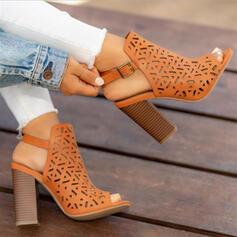 De mujer Tela Tacón ancho Sandalias Encaje con Agujereado zapatos