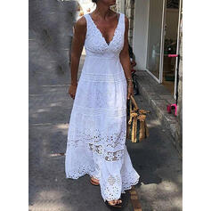 Lace/Solid Sleeveless A-line Little Black/Casual/Vacation Maxi Dresses