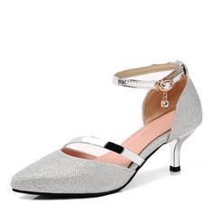 Mulheres Couro Salto agulha Bombas Fechados Mary Jane com Strass Fivela Outros sapatos