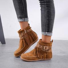 Pentru Femei Piele de Căprioară Fară Toc Botine Deget rotund cu Fermoar Ciucure pantofi