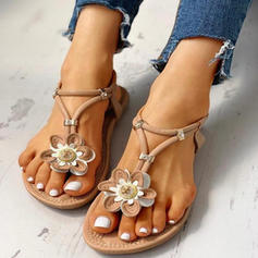 De mujer PU Tacón plano Sandalias Encaje con Flor zapatos