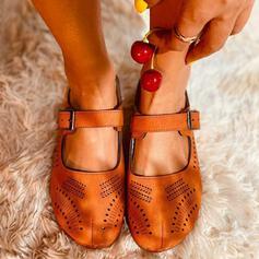 Dla kobiet PU Płaski Obcas Plaskie Nosek kwadratowy Z Klamra Tkanina Wypalana obuwie