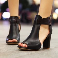 Mulheres Couro Salto robusto Sandálias sapatos