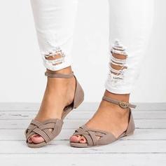 De mujer Cuero Tacón plano Sandalias Planos con Correa Trenzada zapatos