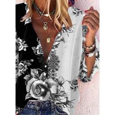 Nadruk Kwiatowy Dekolt w kształcie litery V Rękaw 3/4 Zapięcie na guzik Casual Bluski koszulowe