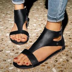 Kvinnor PU Flat Heel Sandaler Platta Skor / Fritidsskor Peep Toe med Nita Zipper skor