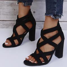 Kvinnor PU Tjockt Häl Sandaler Peep Toe med Solid färg skor