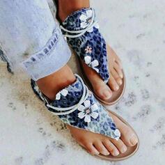 De mujer PU Tacón plano Sandalias Encaje Chancletas con Bowknot Color sólido zapatos