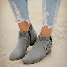 Pentru Femei PU Toc jos Toc gros Cizme Cu vârful cu De la gât înafară Culoare solida respirabile pantofi