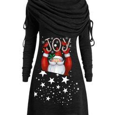 Estampado Manga Comprida Shift Comprimento do joelho Natal/Casual Túnica Vestidos