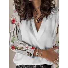 Virágos Patchwork Csipke V-nyak Hosszú ujjú Hétköznapokra πουκαμίσες