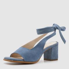 De mujer Ante Tacón ancho Sandalias Salón Encaje Tacones con Cordones zapatos