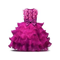 Meninas Neck redonda Sólido Renda Arco Bonito Festa Vestido